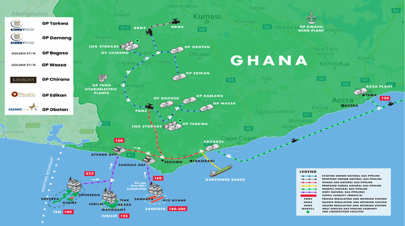 Ghana Operations map - detailing the plant and pipeline types
